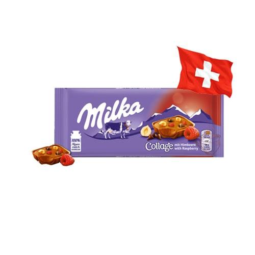 Шоколад молочный Milka Collage малина 93 г Швейцария