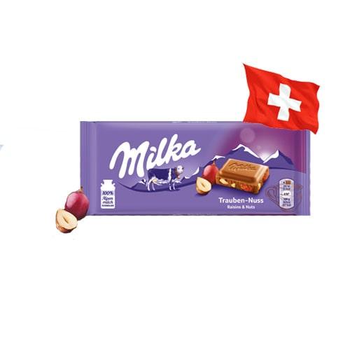 Шоколад молочный Milka Raisin & Nut изюм с орехом 100 г Швейцария