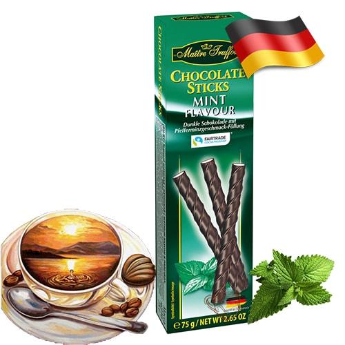 Шоколадные палочки Maitre Truffout с мятным вкусом 75 г Германия