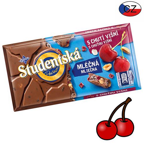 Шоколад молочный с вишней и арахисом Studentska Pecet 180 г Чехия