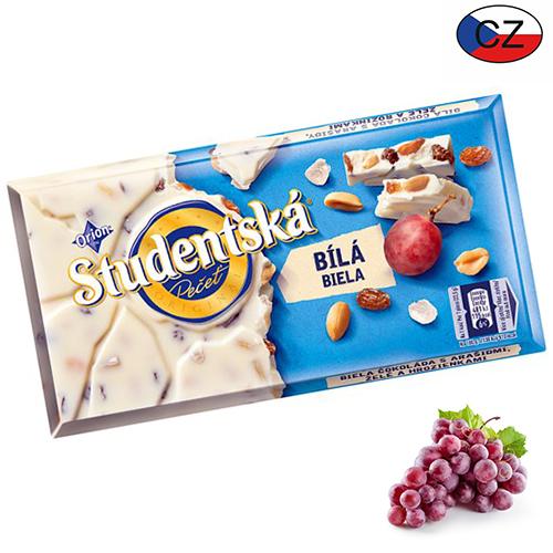 Шоколад белый с изюмом и арахисом Studentska Pecet 180 г