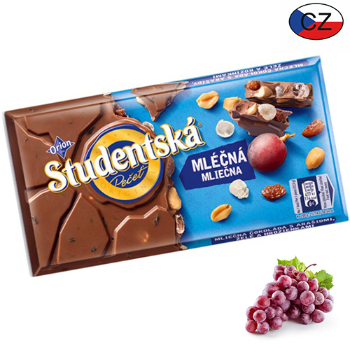 Молочный шоколад с изюмом и арахисом Studentska Pecet 180 г Чехия