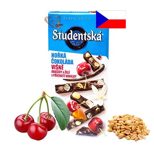 Шоколад черный вишня, желе и арахис Studentska Pecet 180 г Чехия