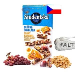 Шоколад молочный соленая карамель, изюм и арахис Studentska Pecet 180 г Чехия