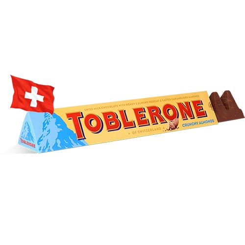 Шоколад молочный с карамелизованным миндалем Toblerone 100g Швейцария