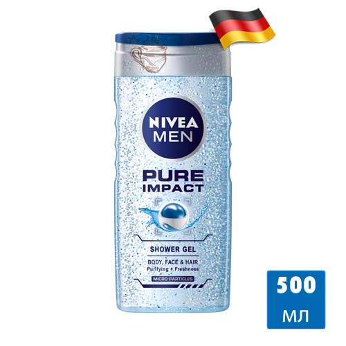 Гель для душа Nivea Men Pure Impact 500мл Германия