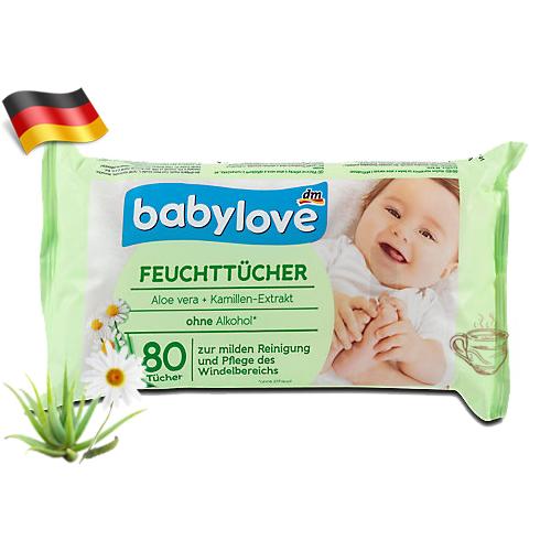 Влажные салфетки с ромашкой и алоэ вера BabyLove 80шт Германия