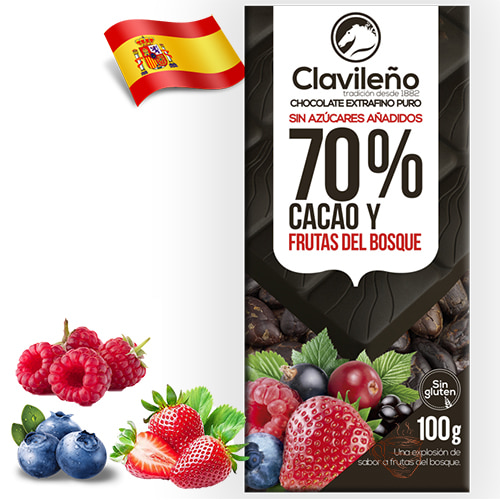 Шоколад черный без сахара Clavileno Berries 70% 100гр Испания