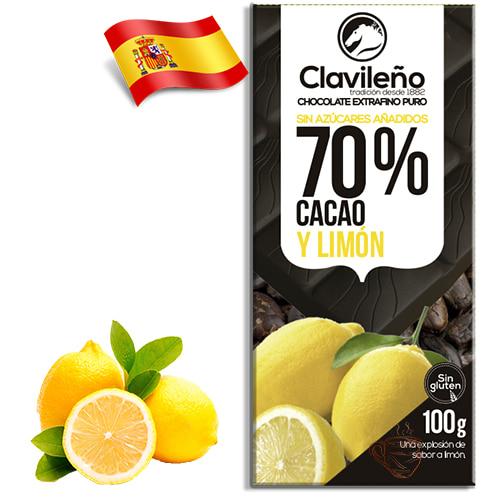 Шоколад черный без сахара Clavileno Lemon 70% 100гр Испания