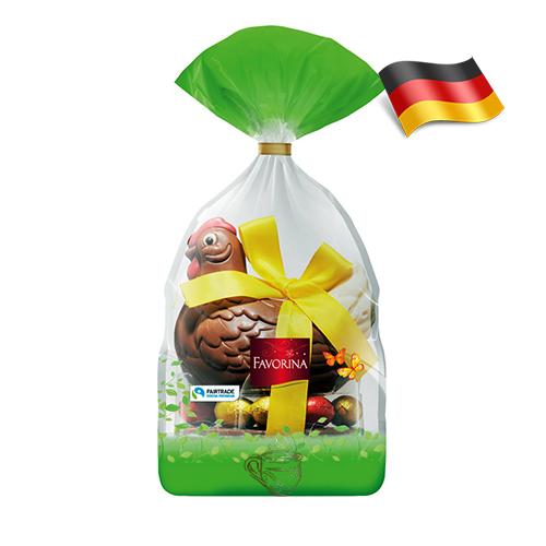 Пасхальная шоколадная курочка с яйцами Favorina 250г Германия