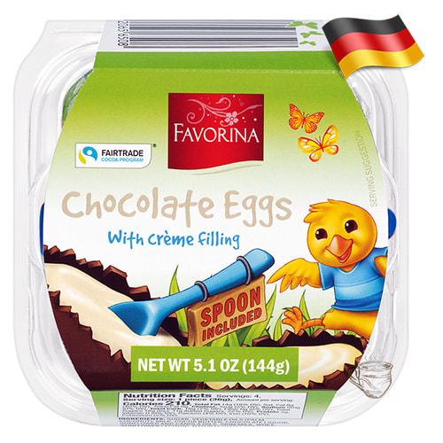 Пасхальные шоколадные яйца с молочной начинкой 4шт Favorina 144г Германия