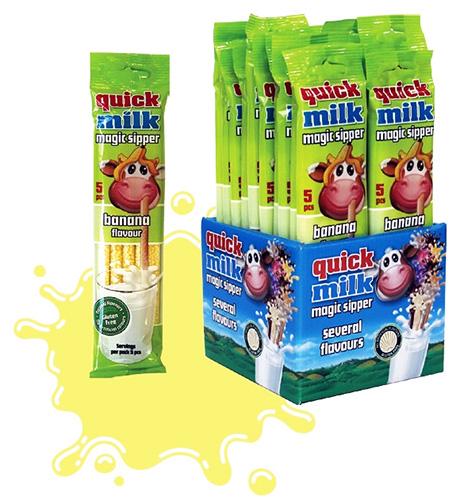 Трубочки для молока Quick Milk Банан 5 шт Венгрия