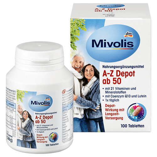 Комплекс минералов и витаминов Mivolis A-Z 50+ в таблетках 100 шт Германия