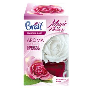 Декоративный освежитель воздуха Brait с ароматом Роза. Приятно освежает и ароматизирует помещение, оставляет тонкий и нежный аромат розы. Объем- 75 мл.